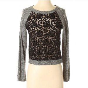"BCBGMAXAZRIA ""Colleen"" lace sweater, black & grey"